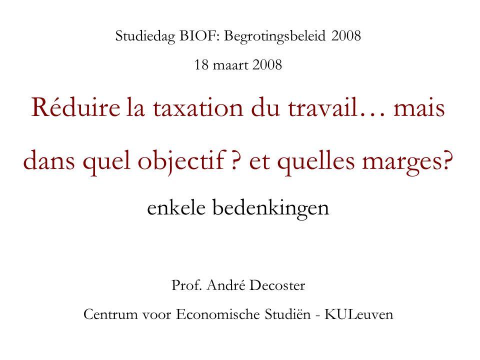 Studiedag BIOF: Begrotingsbeleid 2008 18 maart 2008 Réduire la taxation du travail… mais dans quel objectif .