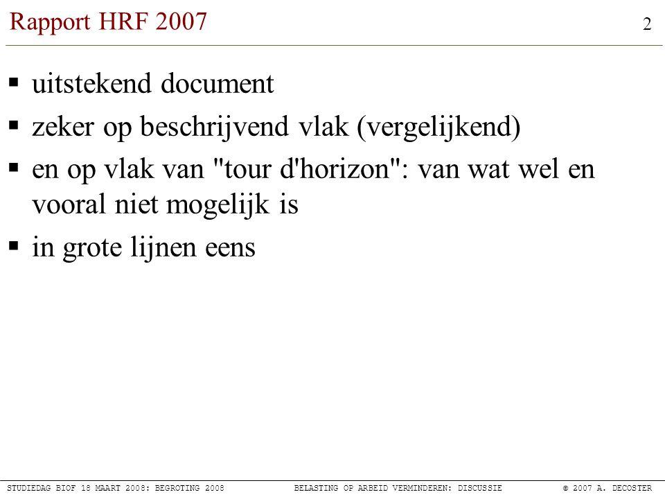 13 STUDIEDAG BIOF 18 MAART 2008: BEGROTING 2008BELASTING OP ARBEID VERMINDEREN: DISCUSSIE© 2007 A.