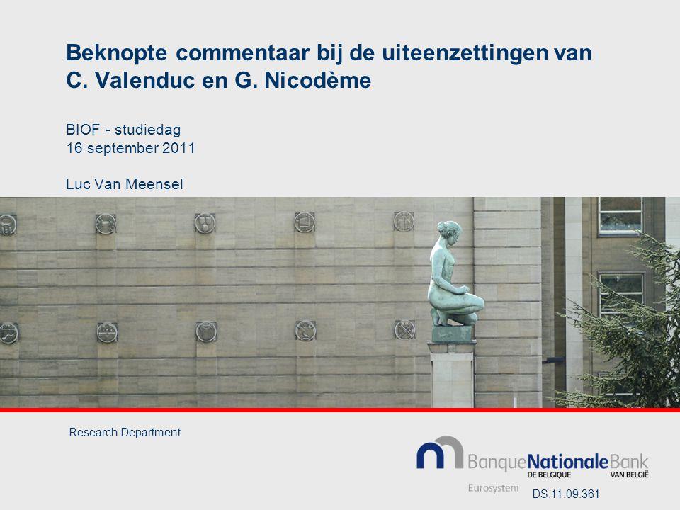 Beknopte commentaar bij de uiteenzettingen van C. Valenduc en G.