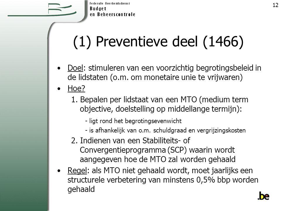 (1) Preventieve deel (1466) Doel: stimuleren van een voorzichtig begrotingsbeleid in de lidstaten (o.m.