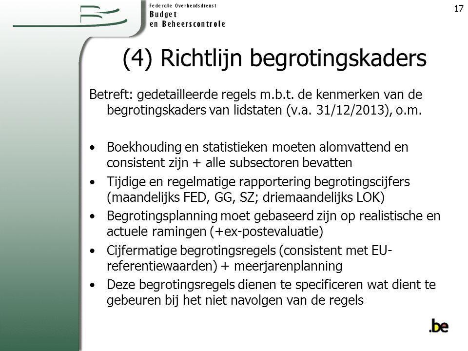 (4) Richtlijn begrotingskaders Betreft: gedetailleerde regels m.b.t.