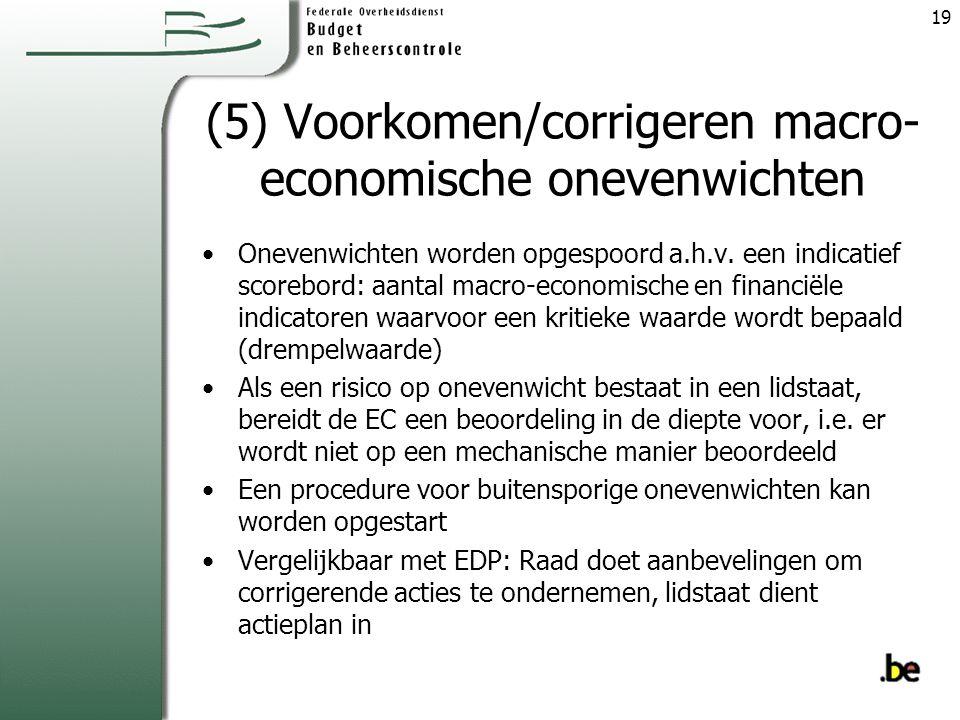 (5) Voorkomen/corrigeren macro- economische onevenwichten Onevenwichten worden opgespoord a.h.v.