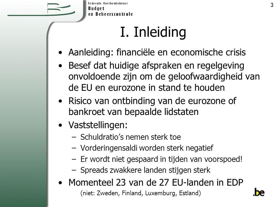 I. Inleiding Aanleiding: financiële en economische crisis Besef dat huidige afspraken en regelgeving onvoldoende zijn om de geloofwaardigheid van de E