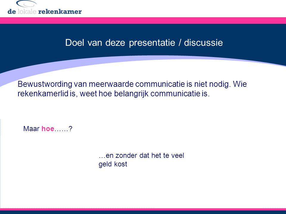 Doel van deze presentatie / discussie Bewustwording van meerwaarde communicatie is niet nodig.