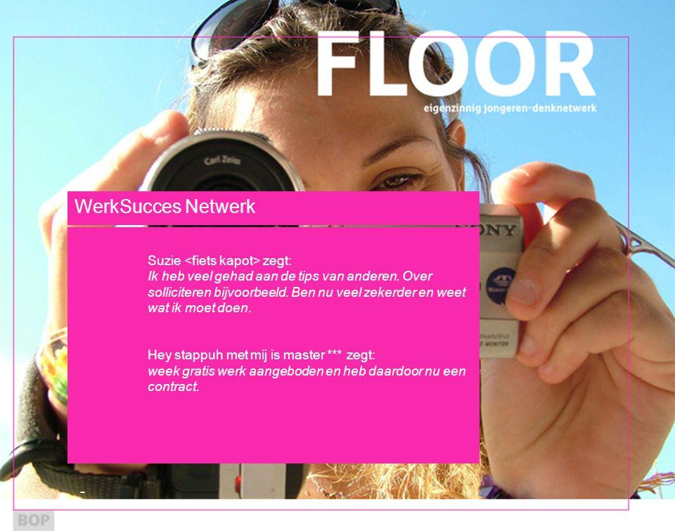 WerkSucces Netwerk Suzie zegt: Ik heb veel gehad aan de tips van anderen.