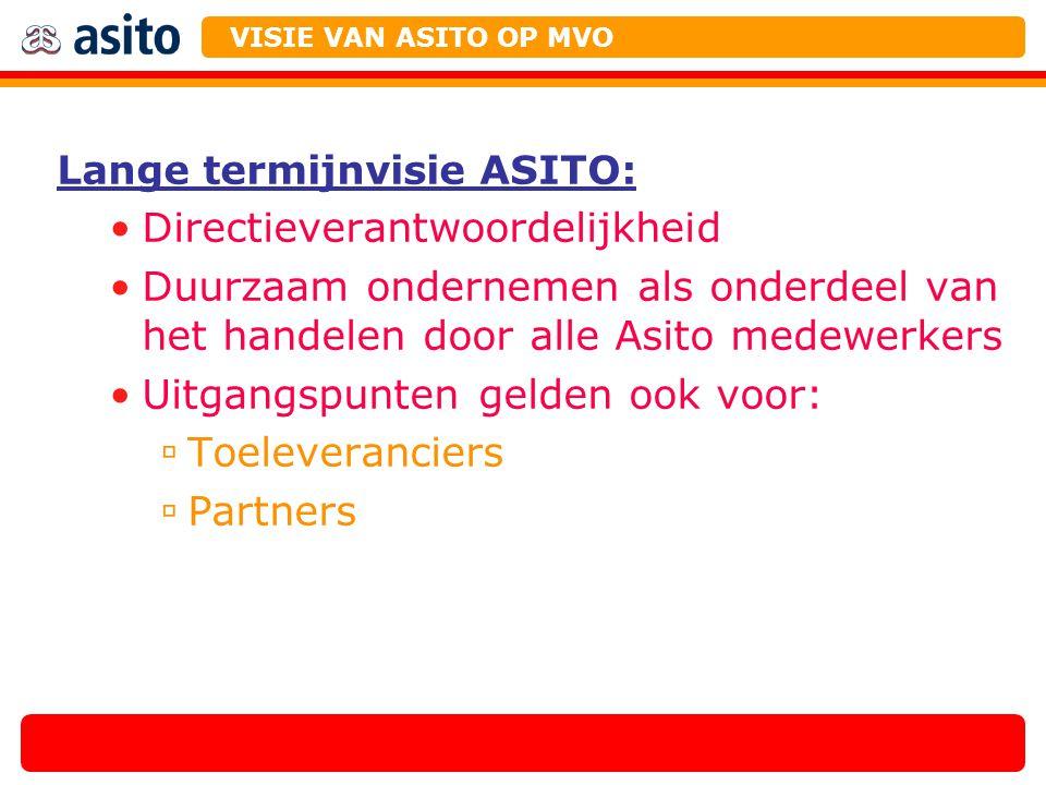 Lange termijnvisie ASITO: Directieverantwoordelijkheid Duurzaam ondernemen als onderdeel van het handelen door alle Asito medewerkers Uitgangspunten g