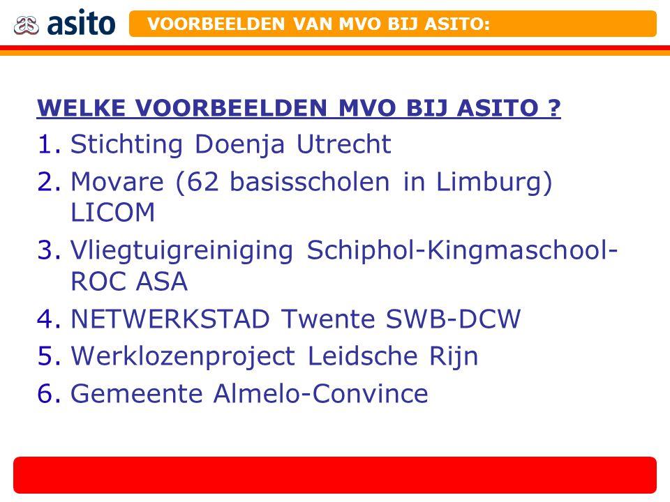 WELKE VOORBEELDEN MVO BIJ ASITO ? 1.Stichting Doenja Utrecht 2.Movare (62 basisscholen in Limburg) LICOM 3.Vliegtuigreiniging Schiphol-Kingmaschool- R