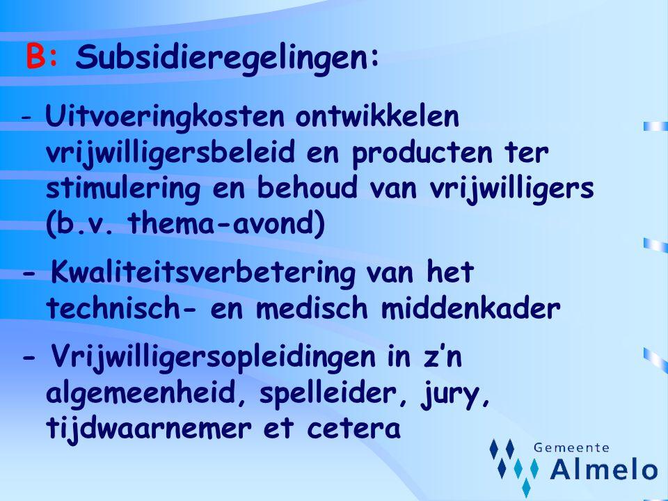 B: Subsidieregelingen: - Uitvoeringkosten ontwikkelen vrijwilligersbeleid en producten ter stimulering en behoud van vrijwilligers (b.v. thema-avond)