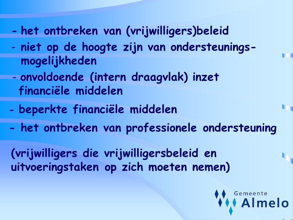 - het ontbreken van (vrijwilligers)beleid - niet op de hoogte zijn van ondersteunings- mogelijkheden - onvoldoende (intern draagvlak) inzet financiële