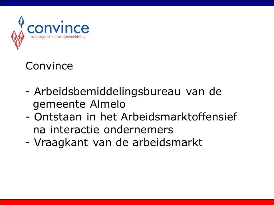 Convince - Arbeidsbemiddelingsbureau van de gemeente Almelo - Ontstaan in het Arbeidsmarktoffensief na interactie ondernemers - Vraagkant van de arbei