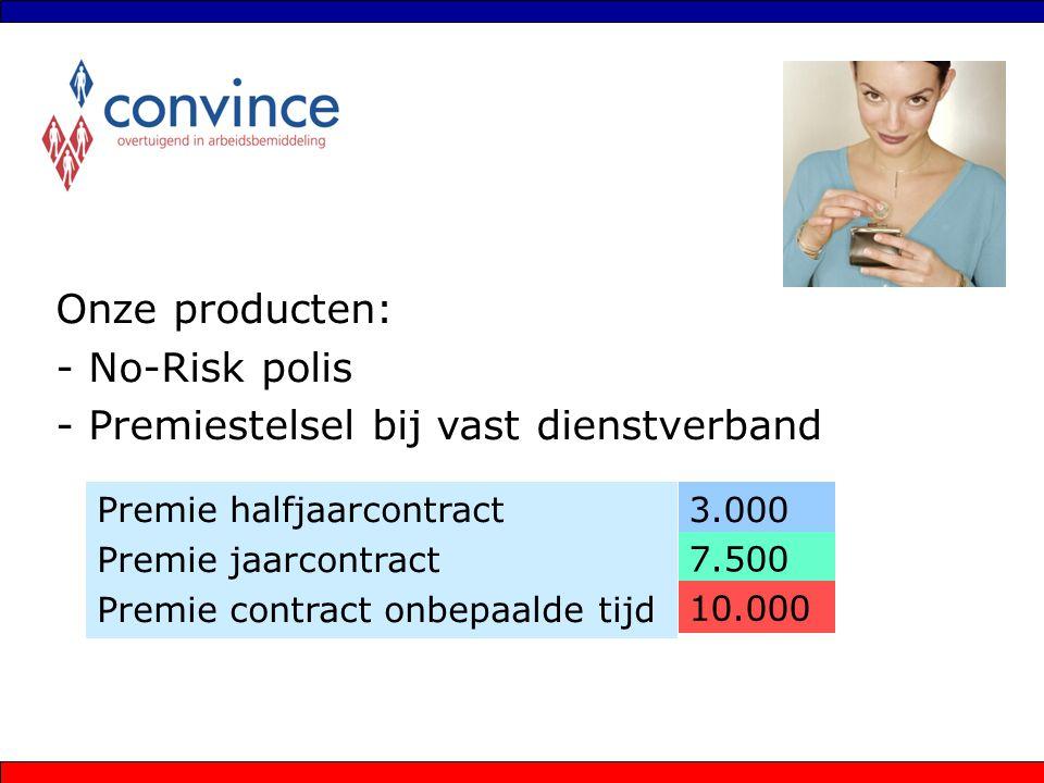 Onze producten: - No-Risk polis - Premiestelsel bij vast dienstverband Premie halfjaarcontract Premie jaarcontract Premie contract onbepaalde tijd 3.0