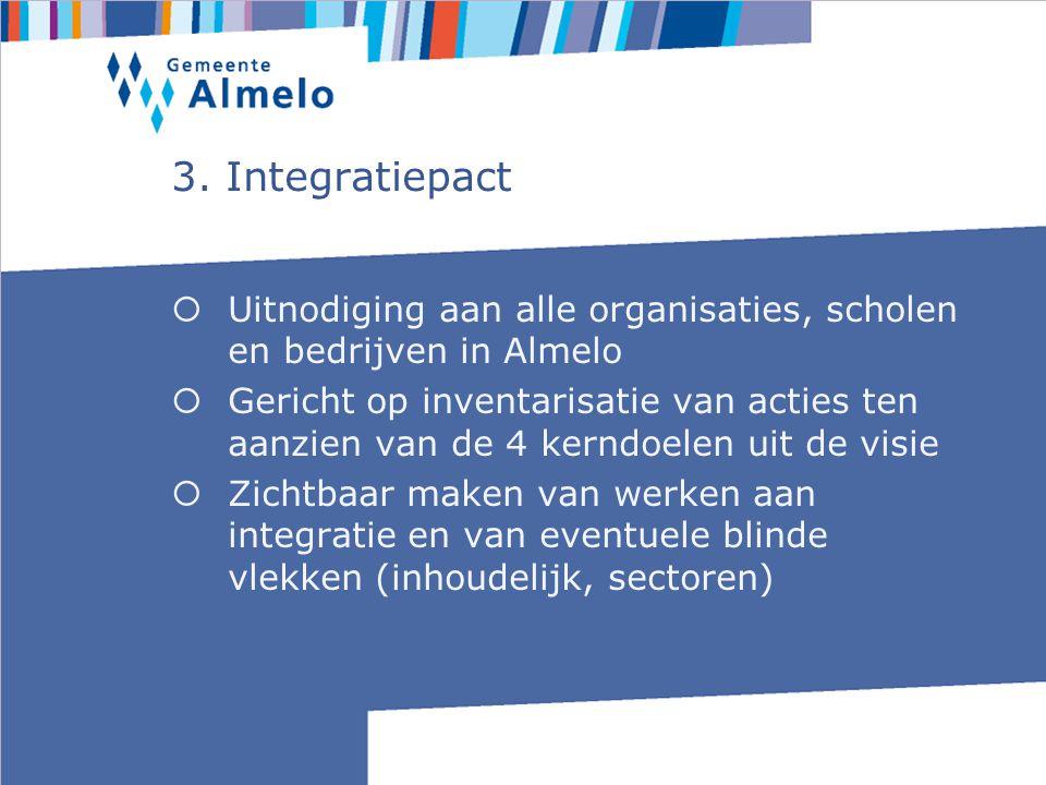 3. Integratiepact  Uitnodiging aan alle organisaties, scholen en bedrijven in Almelo  Gericht op inventarisatie van acties ten aanzien van de 4 kern