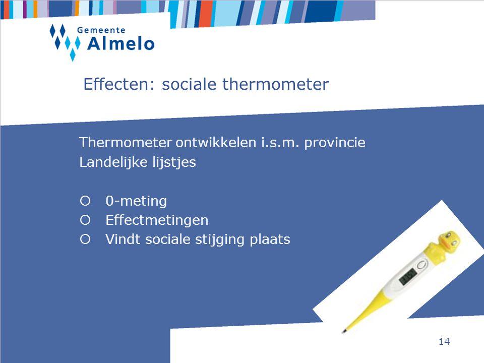 14 Thermometer ontwikkelen i.s.m. provincie Landelijke lijstjes  0-meting  Effectmetingen  Vindt sociale stijging plaats Effecten: sociale thermome