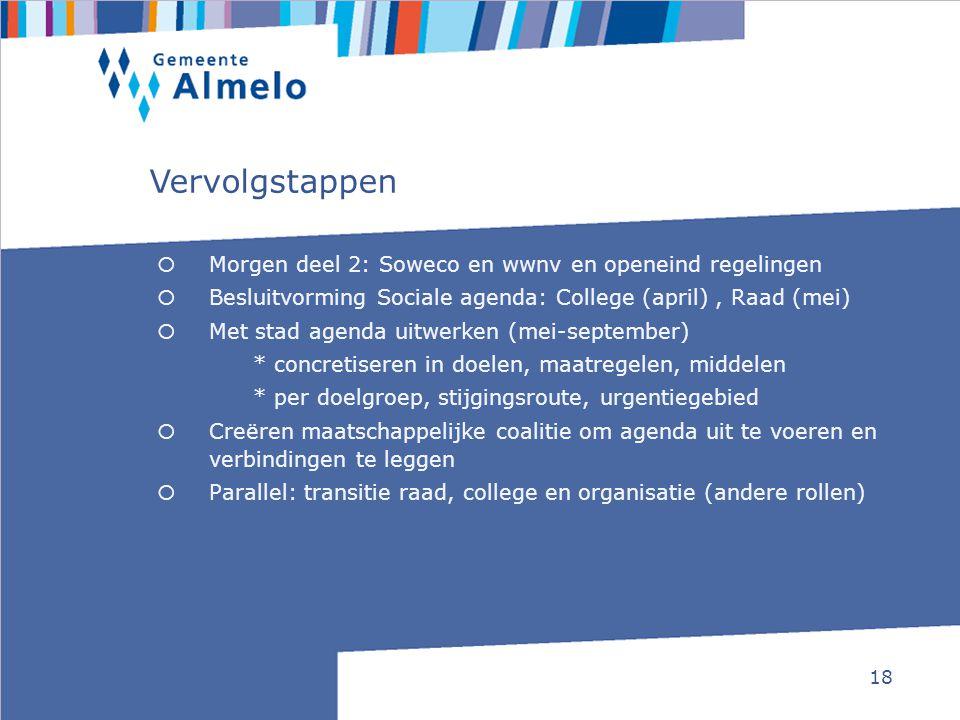 18  Morgen deel 2: Soweco en wwnv en openeind regelingen  Besluitvorming Sociale agenda: College (april), Raad (mei)  Met stad agenda uitwerken (me