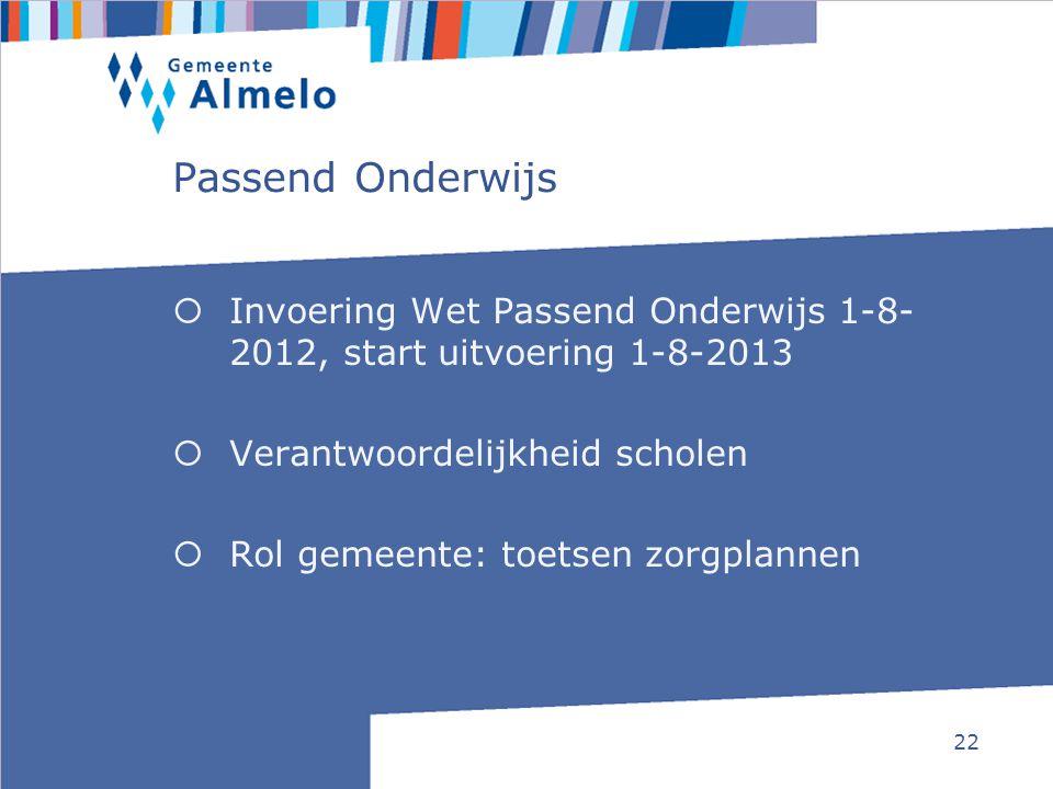 22 Passend Onderwijs  Invoering Wet Passend Onderwijs 1-8- 2012, start uitvoering 1-8-2013  Verantwoordelijkheid scholen  Rol gemeente: toetsen zor