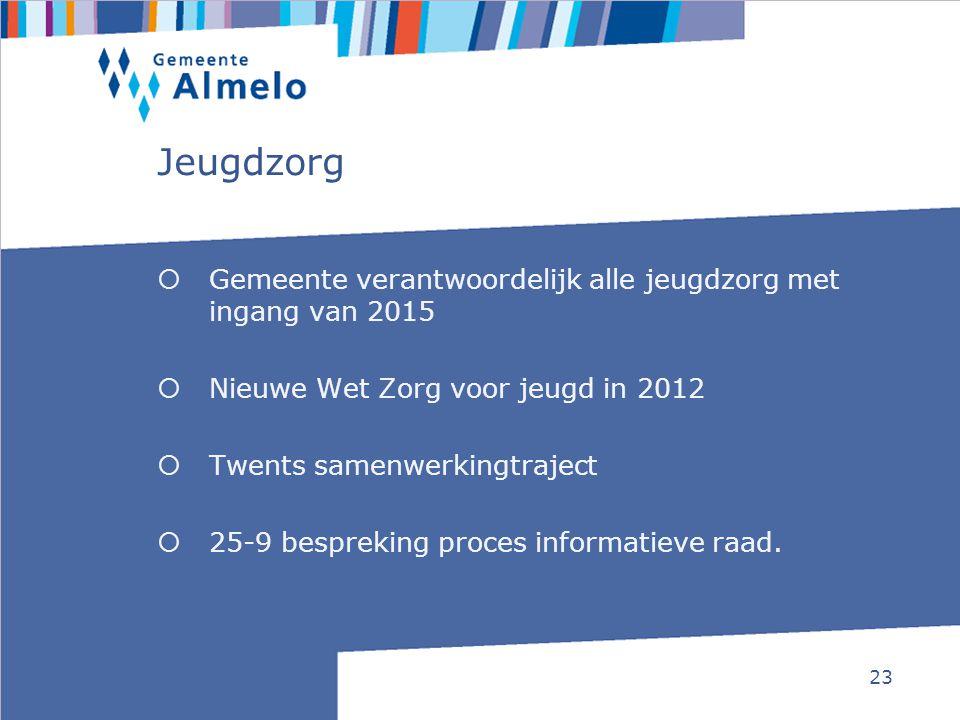 23 Jeugdzorg  Gemeente verantwoordelijk alle jeugdzorg met ingang van 2015  Nieuwe Wet Zorg voor jeugd in 2012  Twents samenwerkingtraject  25-9 b