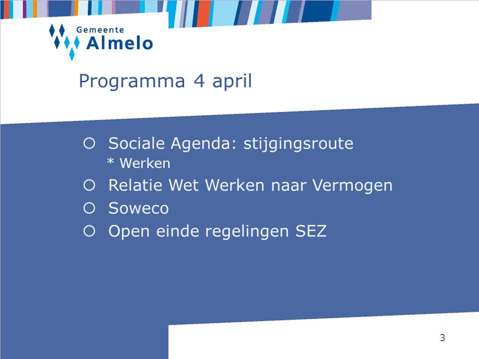 3 Programma 4 april  Sociale Agenda: stijgingsroute * Werken  Relatie Wet Werken naar Vermogen  Soweco  Open einde regelingen SEZ