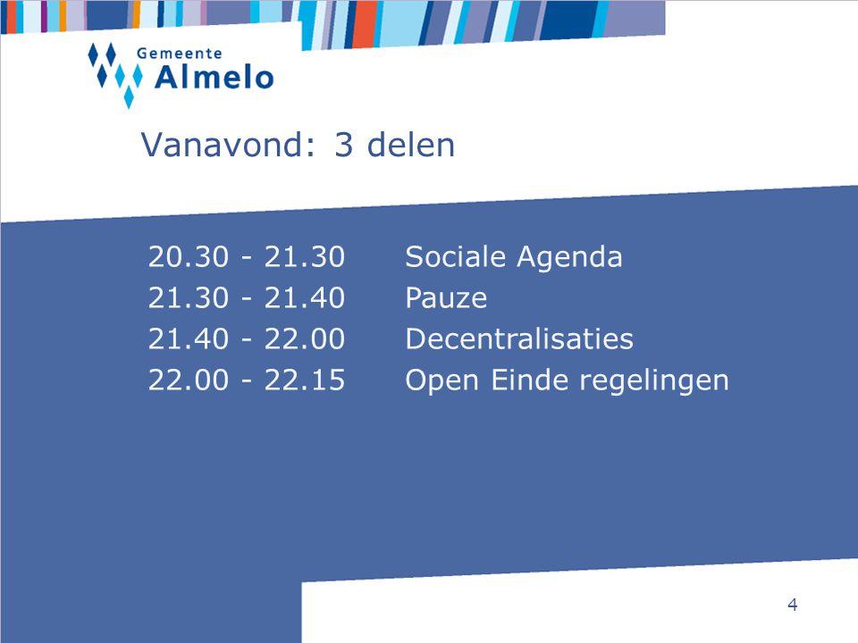 4 Vanavond: 3 delen 20.30 - 21.30Sociale Agenda 21.30 - 21.40 Pauze 21.40 - 22.00Decentralisaties 22.00 - 22.15Open Einde regelingen
