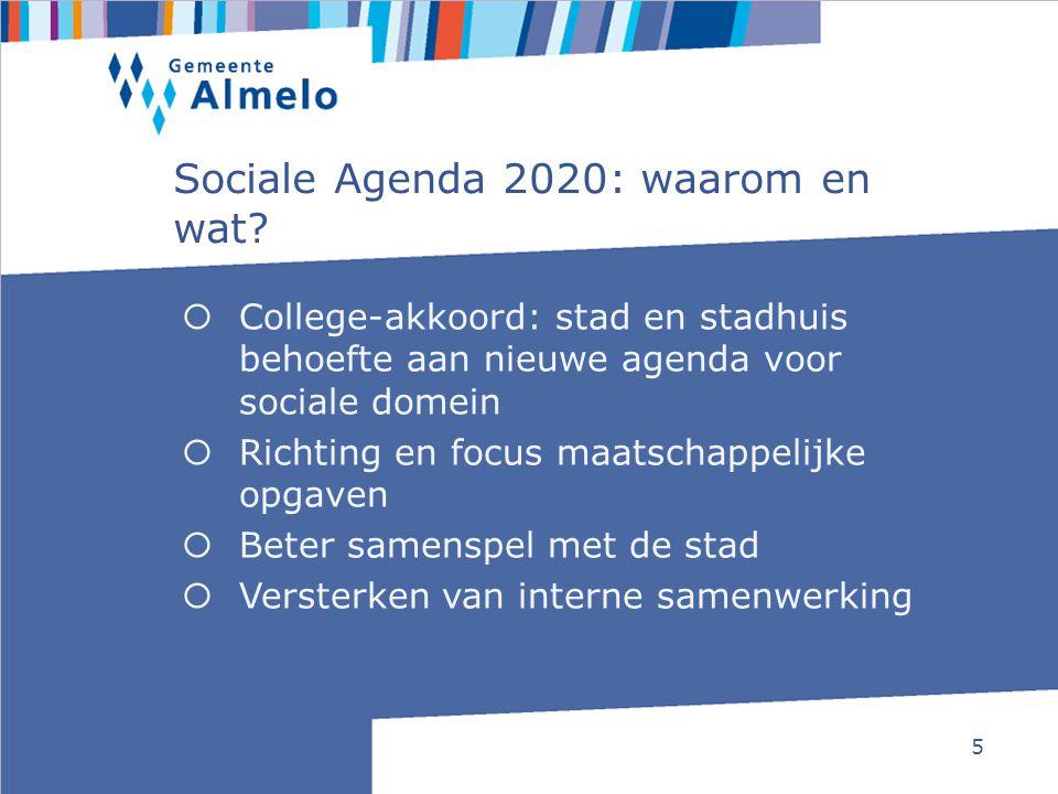 5 Sociale Agenda 2020: waarom en wat?  College-akkoord: stad en stadhuis behoefte aan nieuwe agenda voor sociale domein  Richting en focus maatschap
