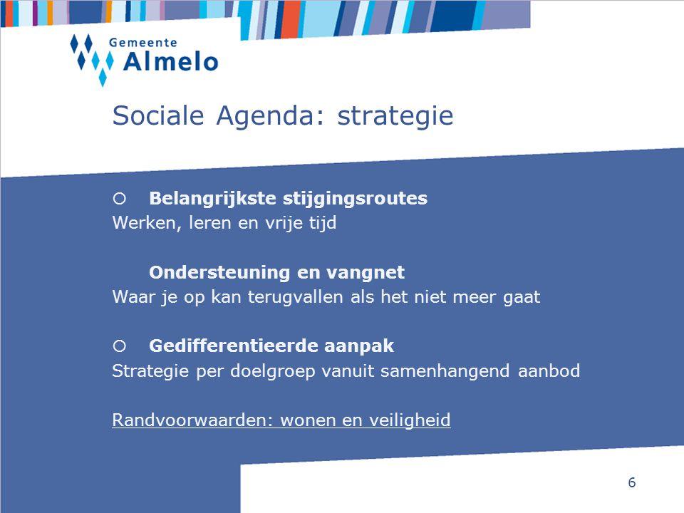 6 Sociale Agenda: strategie  Belangrijkste stijgingsroutes Werken, leren en vrije tijd Ondersteuning en vangnet Waar je op kan terugvallen als het ni