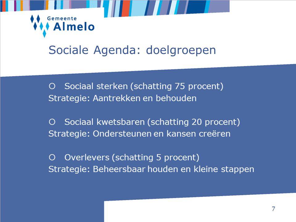 7 Sociale Agenda: doelgroepen  Sociaal sterken (schatting 75 procent) Strategie: Aantrekken en behouden  Sociaal kwetsbaren (schatting 20 procent) S