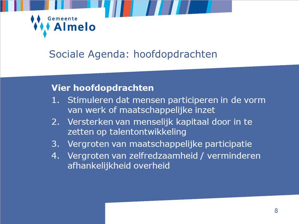 8 Sociale Agenda: hoofdopdrachten Vier hoofdopdrachten 1.Stimuleren dat mensen participeren in de vorm van werk of maatschappelijke inzet 2.Versterken