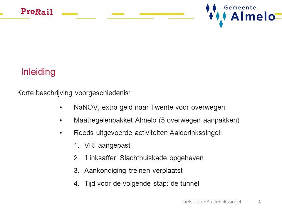 Inleiding Fietstunnel Aalderinkssingel 4 Korte beschrijving voorgeschiedenis: NaNOV; extra geld naar Twente voor overwegen Maatregelenpakket Almelo (5
