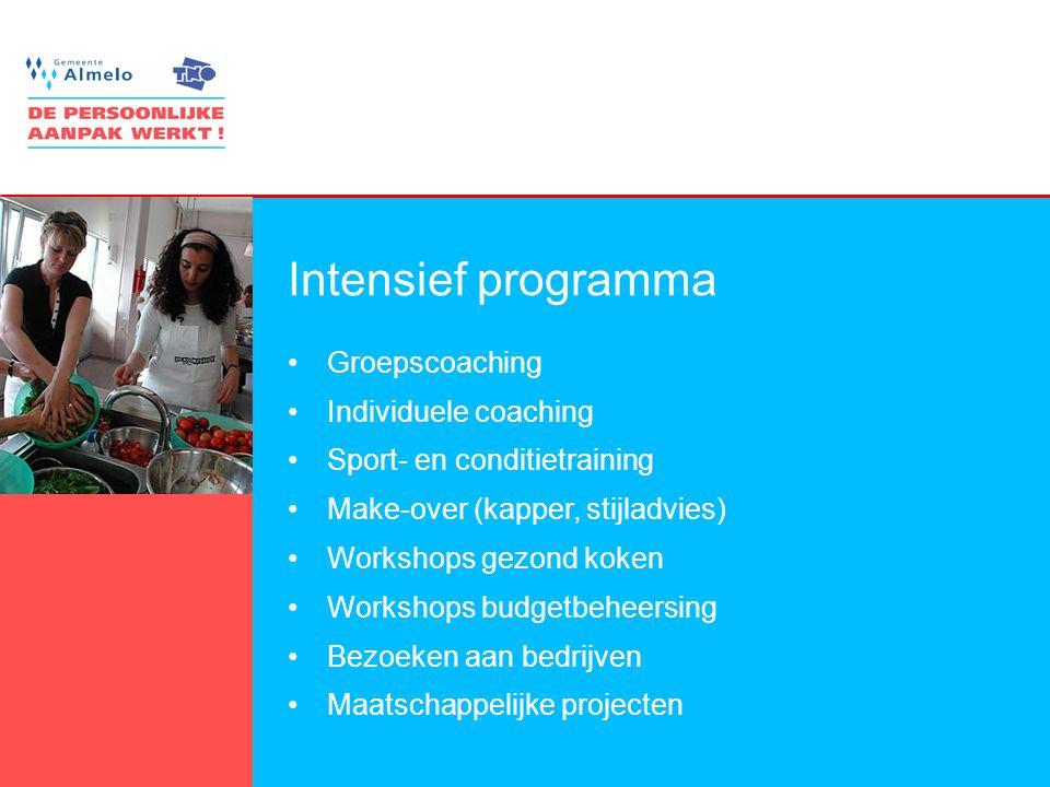 9 Intensief programma Groepscoaching Individuele coaching Sport- en conditietraining Make-over (kapper, stijladvies) Workshops gezond koken Workshops budgetbeheersing Bezoeken aan bedrijven Maatschappelijke projecten