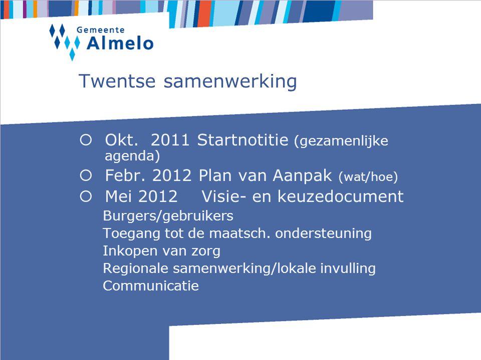 Twentse samenwerking  Okt. 2011 Startnotitie (gezamenlijke agenda)  Febr.