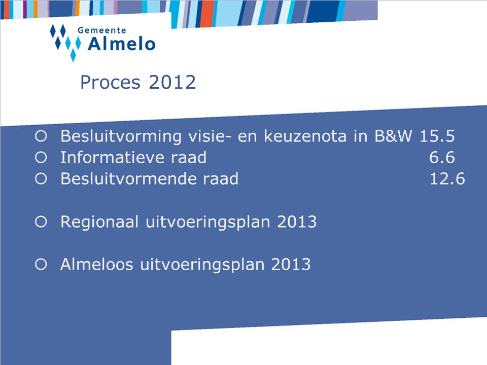 Proces 2012  Besluitvorming visie- en keuzenota in B&W 15.5  Informatieve raad 6.6  Besluitvormende raad 12.6  Regionaal uitvoeringsplan 2013  Almeloos uitvoeringsplan 2013