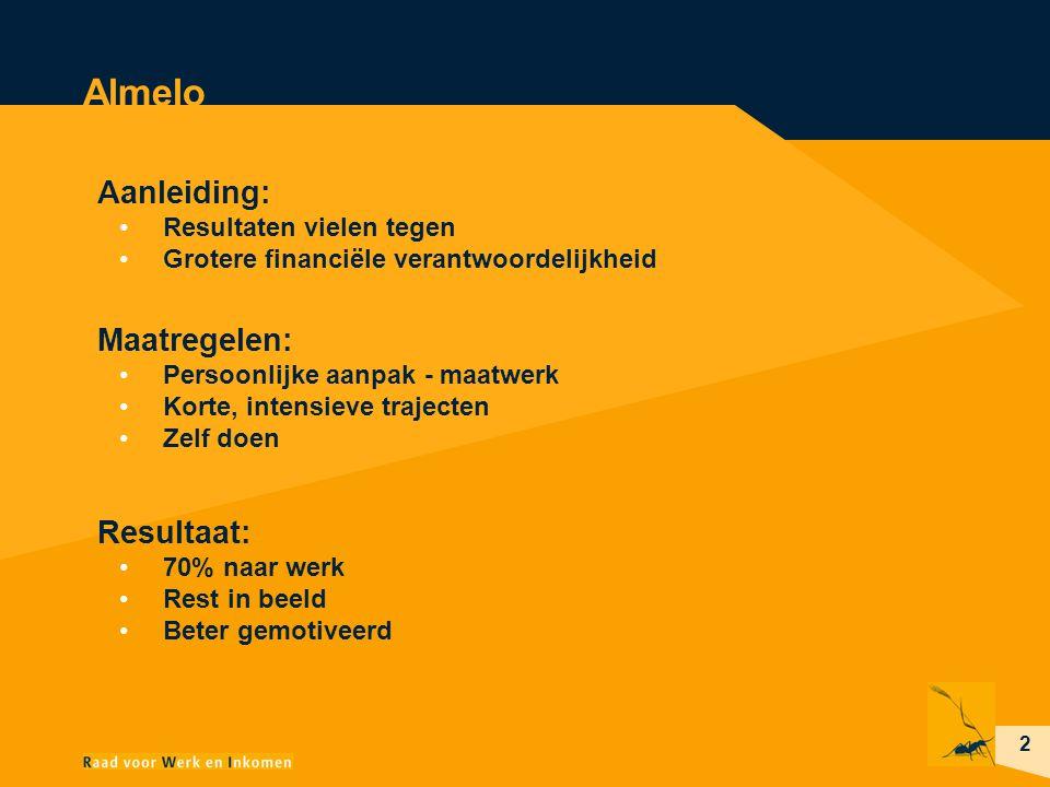 2 Almelo Aanleiding: Resultaten vielen tegen Grotere financiële verantwoordelijkheid Maatregelen: Persoonlijke aanpak - maatwerk Korte, intensieve tra