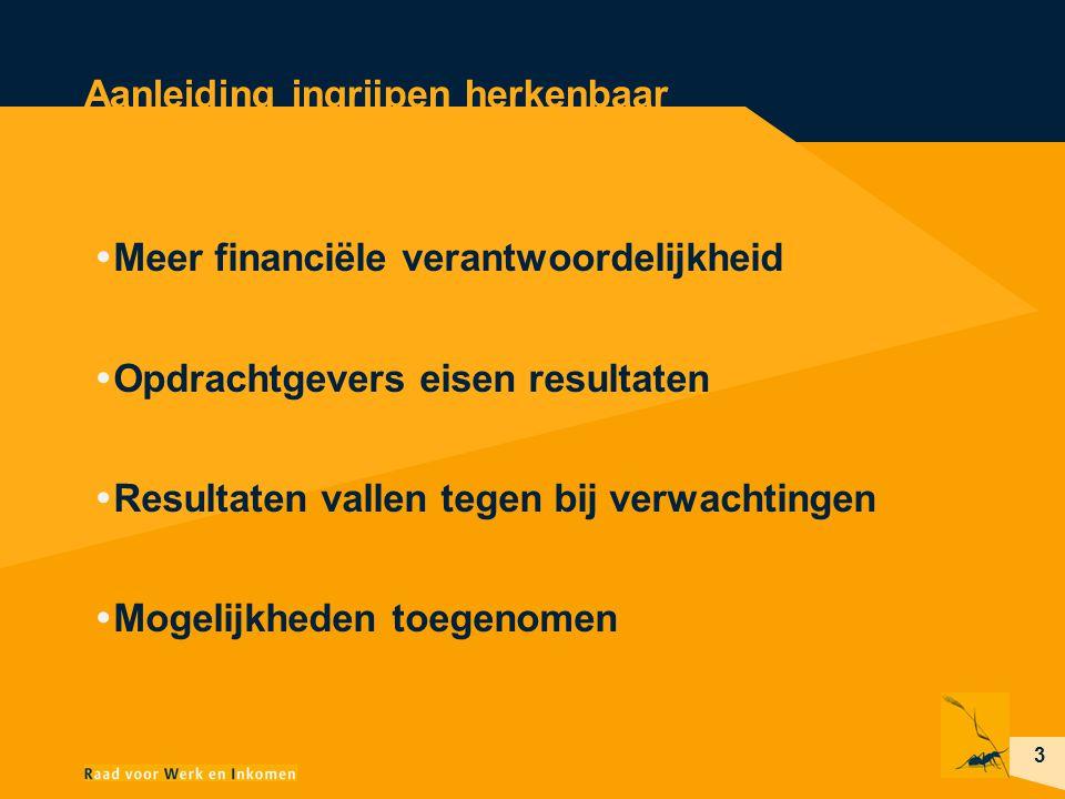 3 Aanleiding ingrijpen herkenbaar  Meer financiële verantwoordelijkheid  Opdrachtgevers eisen resultaten  Resultaten vallen tegen bij verwachtingen