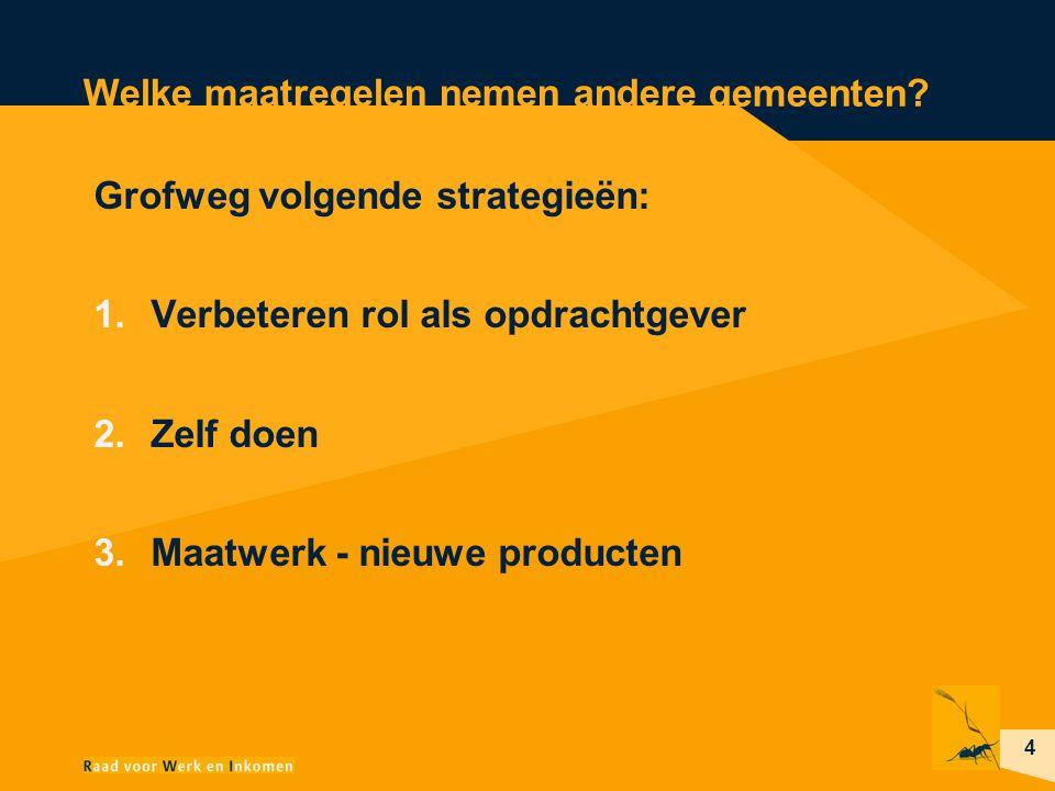 4 Welke maatregelen nemen andere gemeenten? Grofweg volgende strategieën: 1.Verbeteren rol als opdrachtgever 2.Zelf doen 3.Maatwerk - nieuwe producten