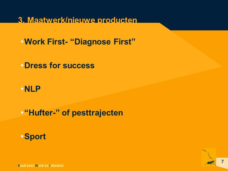 """7 3. Maatwerk/nieuwe producten  Work First- """"Diagnose First""""  Dress for success  NLP  """"Hufter-"""" of pesttrajecten  Sport"""