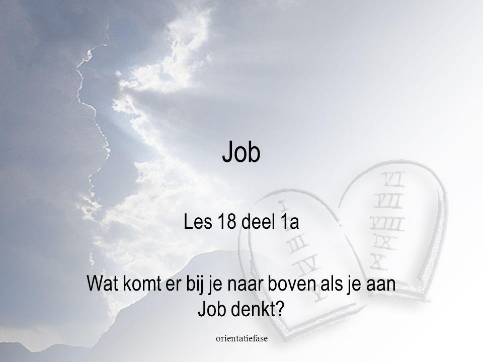 orientatiefase Job Les 18 deel 1a Wat komt er bij je naar boven als je aan Job denkt?