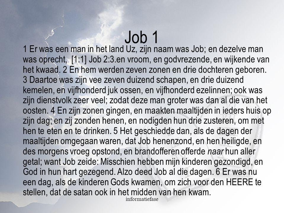 Job 1 1 Er was een man in het land Uz, zijn naam was Job; en dezelve man was oprecht, [1:1] Job 2:3.en vroom, en godvrezende, en wijkende van het kwaa