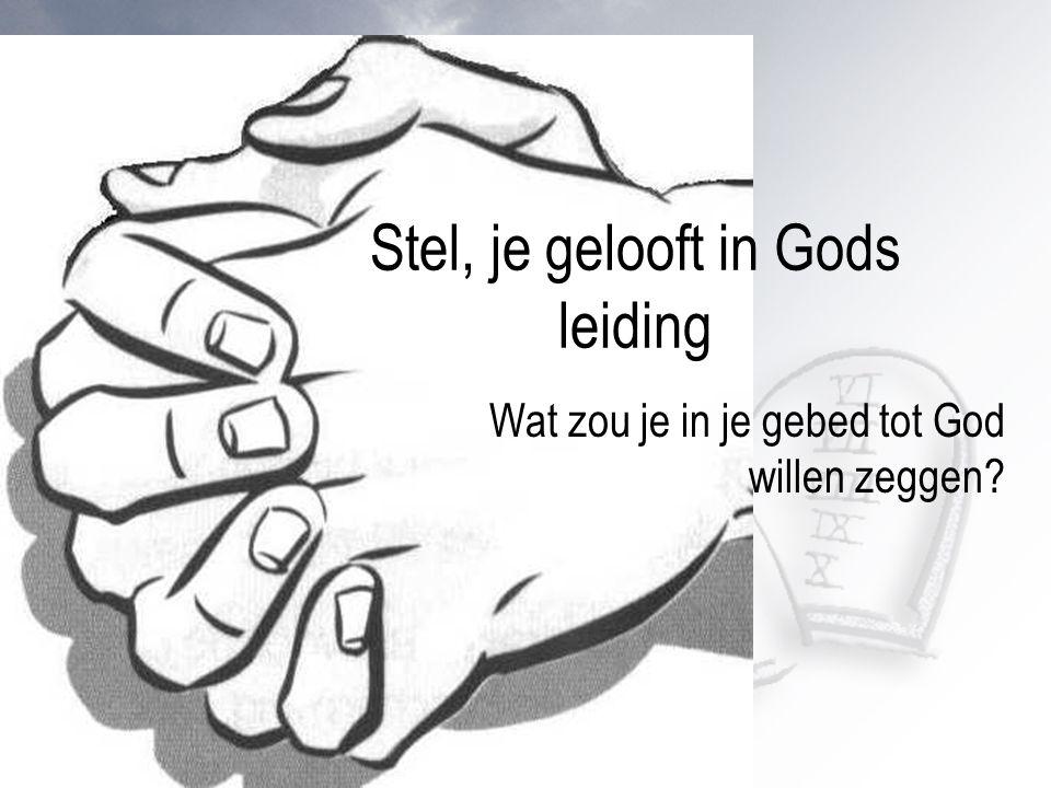 relevantiefase Stel, je gelooft in Gods leiding Wat zou je in je gebed tot God willen zeggen?