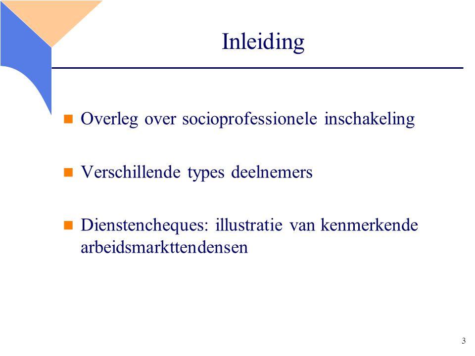 3 Inleiding Overleg over socioprofessionele inschakeling Verschillende types deelnemers Dienstencheques: illustratie van kenmerkende arbeidsmarkttendensen