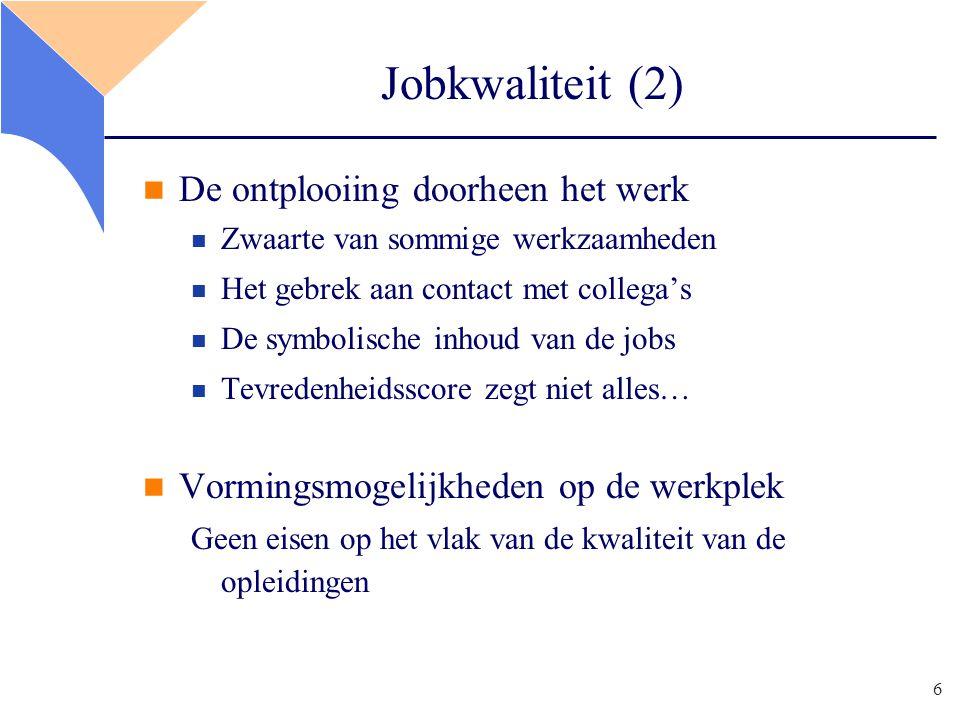 6 Jobkwaliteit (2) De ontplooiing doorheen het werk Zwaarte van sommige werkzaamheden Het gebrek aan contact met collega's De symbolische inhoud van de jobs Tevredenheidsscore zegt niet alles… Vormingsmogelijkheden op de werkplek Geen eisen op het vlak van de kwaliteit van de opleidingen