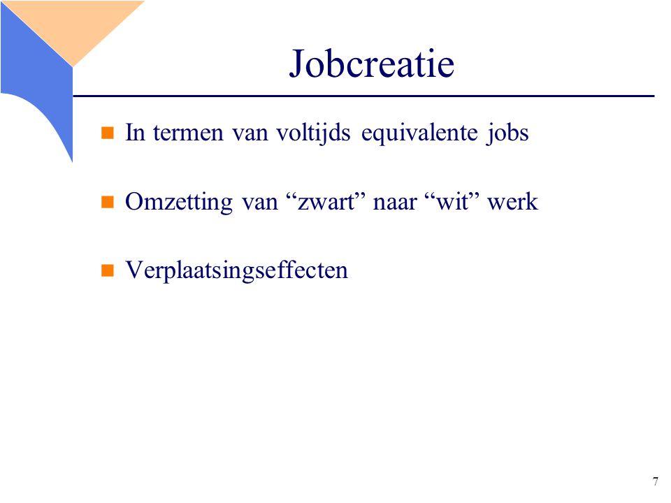 7 Jobcreatie In termen van voltijds equivalente jobs Omzetting van zwart naar wit werk Verplaatsingseffecten