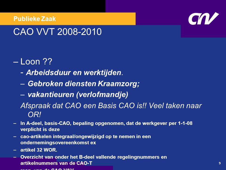Publieke Zaak CAO VVT 2008-2010 –Loon ?.- Arbeidsduur en werktijden.