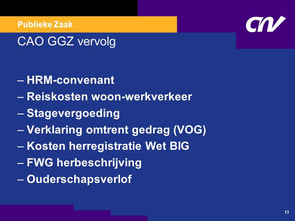 Publieke Zaak CAO GGZ vervolg –HRM-convenant –Reiskosten woon-werkverkeer –Stagevergoeding –Verklaring omtrent gedrag (VOG) –Kosten herregistratie Wet BIG –FWG herbeschrijving –Ouderschapsverlof 13