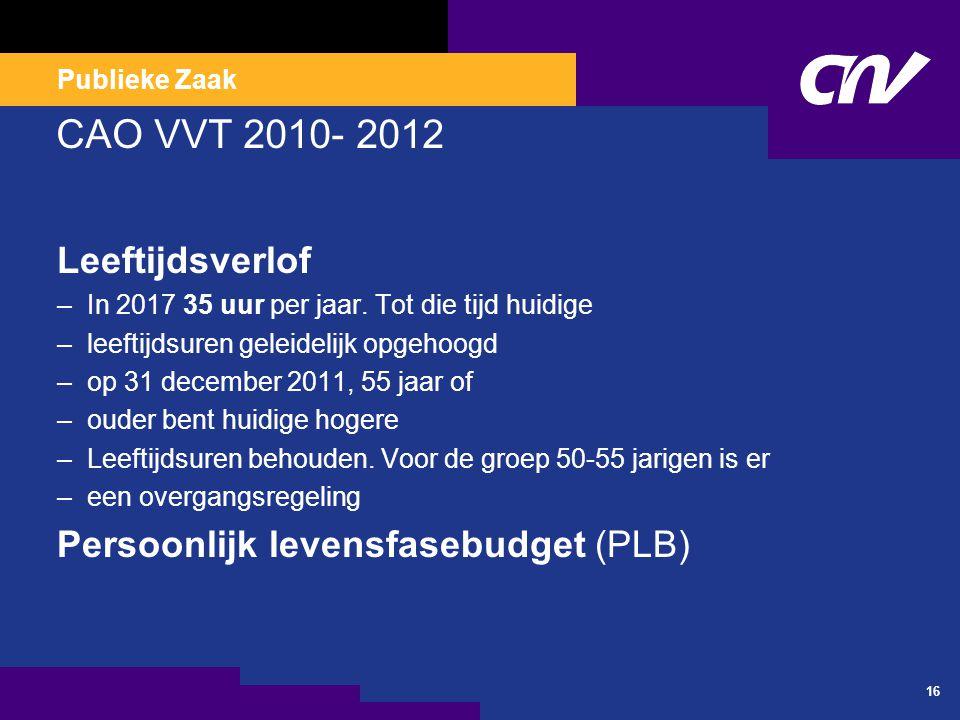 Publieke Zaak CAO VVT 2010- 2012 Leeftijdsverlof –In 2017 35 uur per jaar.