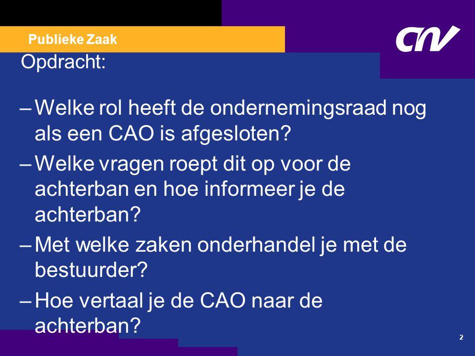 Publieke Zaak Opdracht: –Welke rol heeft de ondernemingsraad nog als een CAO is afgesloten.