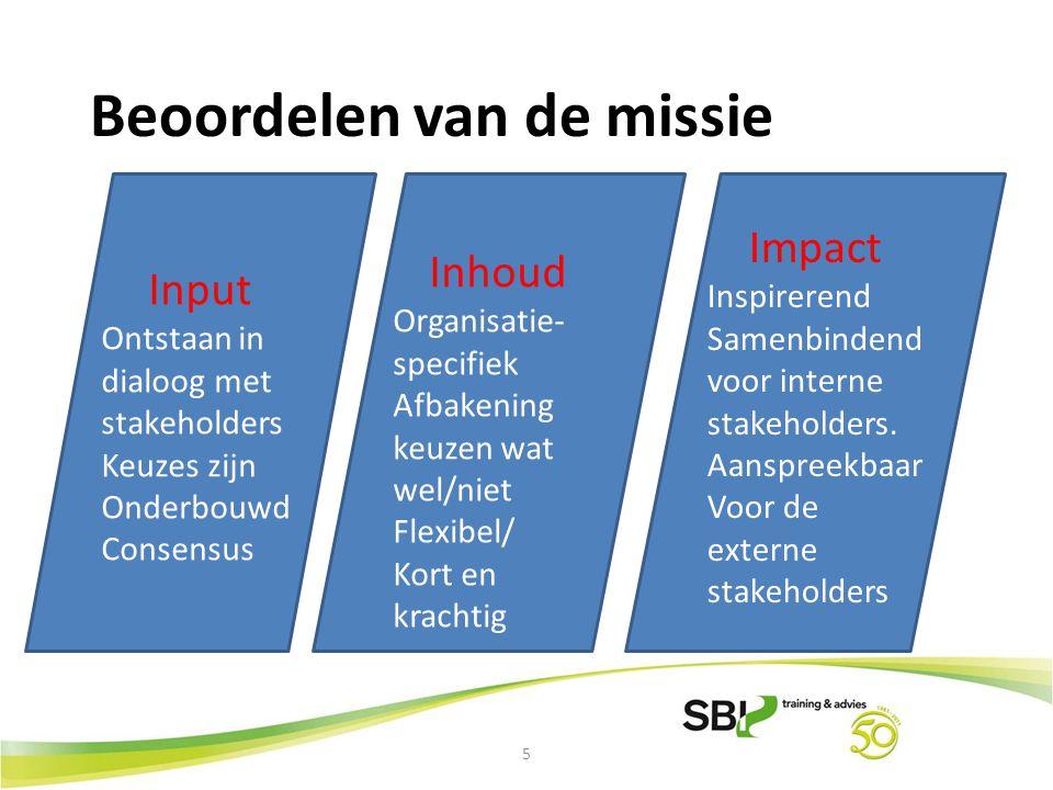 6 Beoordelen van de visie Input Beantwoordt aan missie en waarden Consensus Inhoud Vooruitziend Verbeeldings- kracht van de organisatie Stretching Onderscheid maken Impact Uitdagend voor interne stakeholders Haalbaar en Realistisch voor draagvlak