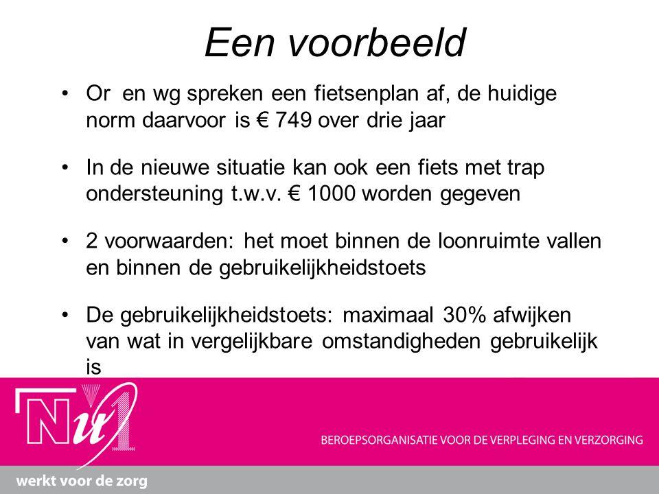 Een voorbeeld Or en wg spreken een fietsenplan af, de huidige norm daarvoor is € 749 over drie jaar In de nieuwe situatie kan ook een fiets met trap o