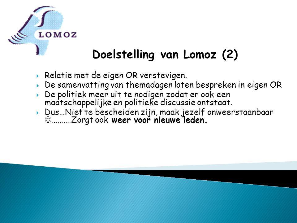 Doelstelling van Lomoz (2)  Relatie met de eigen OR verstevigen.  De samenvatting van themadagen laten bespreken in eigen OR  De politiek meer uit