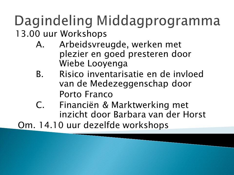 Dagindeling Middagprogramma 13.00 uur Workshops A.