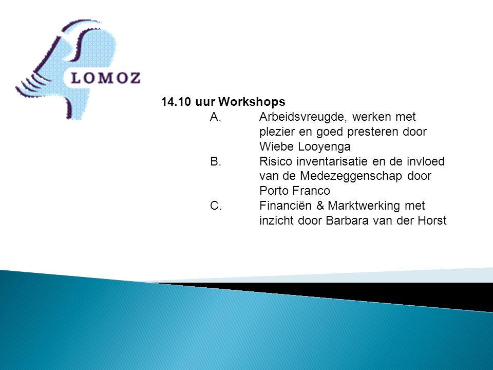 14.10 uur Workshops A. Arbeidsvreugde, werken met plezier en goed presteren door Wiebe Looyenga B.