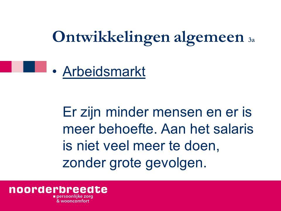 Ontwikkelingen algemeen 3a Arbeidsmarkt Er zijn minder mensen en er is meer behoefte. Aan het salaris is niet veel meer te doen, zonder grote gevolgen